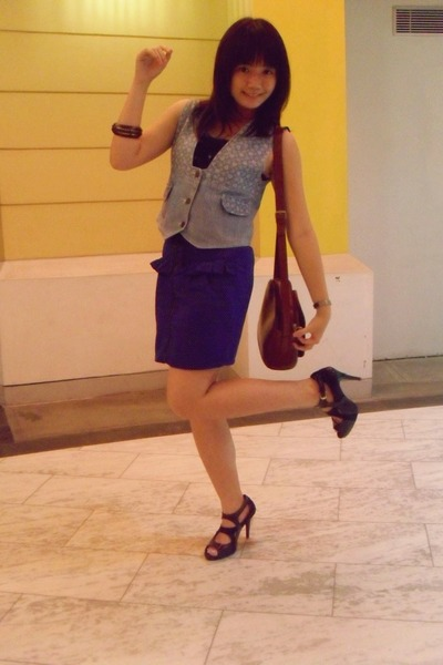 denim vest - Peter Keiza shoes - vintage bag