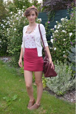 F&F sweater - Pimkie bag - oxfords Gate flats - dark red H&M skirt