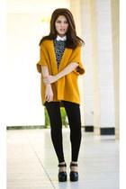 mustard thrifted cardigan