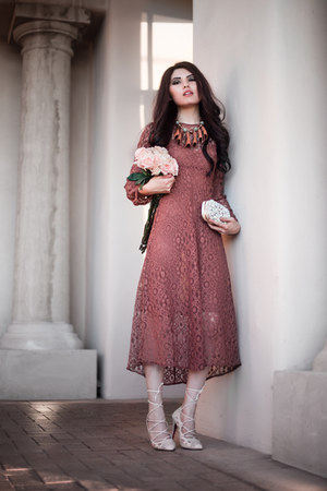 brick red lace Zara dress