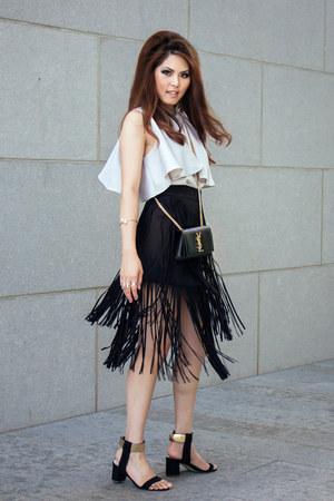 fringe Nic  Zoe skirt - shoulder bag Saint Laurent bag - ankle strap heels