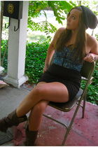 blue Urban Outfitters top - black Silence & Noise skirt - brown Blowfish boots -