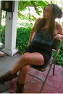 Blue-urban-outfitters-top-black-silence-noise-skirt-brown-blowfish-boots-