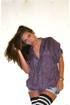 purple vintage blouse - blue Target shorts - black American Apparel socks