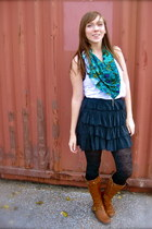 charcoal gray Forever 21 skirt - brown Wanted boots - gray Urban Outfitters tigh
