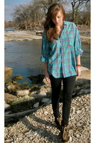 dark brown Charlotte Russe boots - turquoise blue dads shirt - black Under Armou