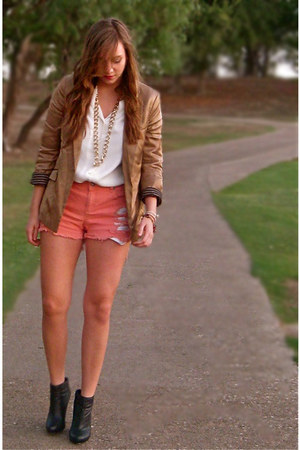 gold H&M blazer - black R2 boots - coral diy thrifted shorts