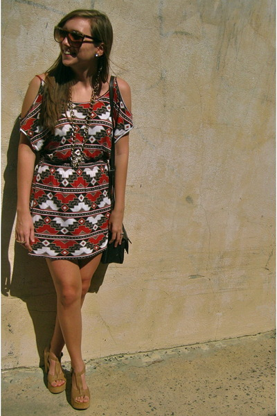 Duo dress - Urban Outfitters sunglasses - Blowfish heels - H&M earrings - thrift