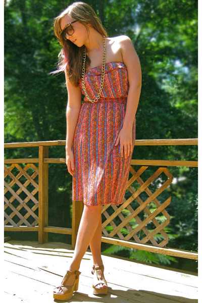 carrot orange Langford Market dress - brown Urban Outfitters sunglasses - tan Bl