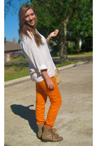 beige texas junk company boots - tan Sam Moon purse - orange Strut pants