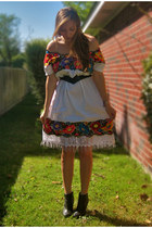 white from mexico dress - black R2 boots - navy thrifted belt