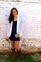 brown Wanted boots - purple Silence & Noise dress - white Forever 21 sweater - g