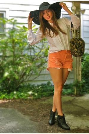 black Forever 21 hat - light brown thrifted purse - light orange diy distressed