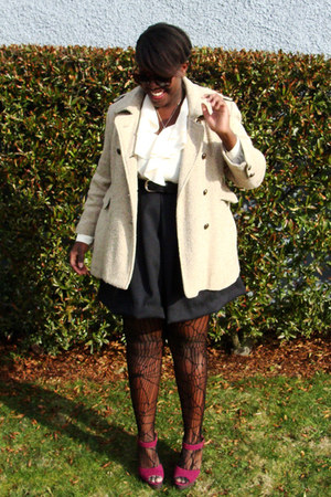 camel fletcher by lyell coat - black thrifted skirt - ivory thrifted 2 blouse -