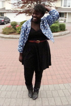 jacket - Joe Fresh shirt - Old Navy skirt - American Apparel leggings - boots -