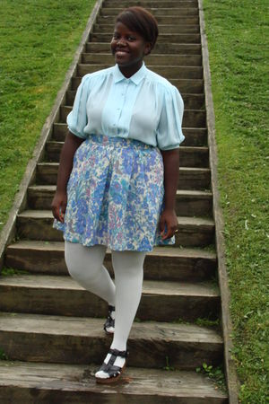 blue blouse - blue skirt - white joe fresh style stockings - black Old Navy shoe