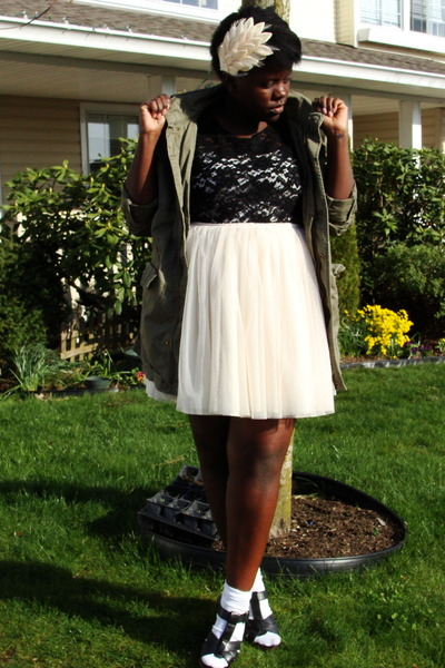 green Bluenotes jacket - black shirt - white skirt - white Buffalo Exchange acce
