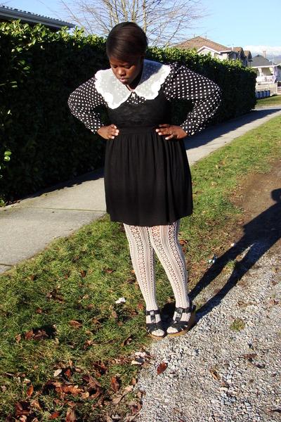 black Forever 21 dress - black thrifted blouse - cream Forever 21 stockings - bl
