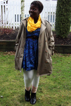 beige Urban Renewal coat - gold scarf - blue Value Village dress - white Forever