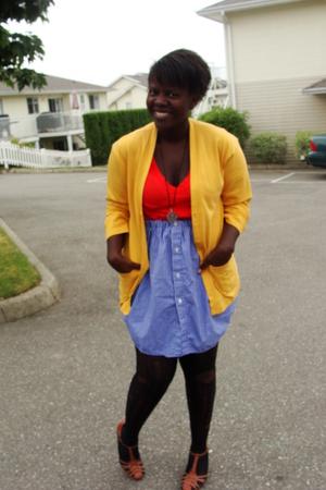 calvin klein sweater - Gap t-shirt - skirt - dollar store stockings - shoes - ne