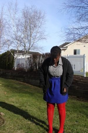 sweater - shirt - skirt - H&M stockings - shoes