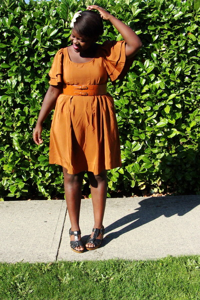 orange H&M dress - black Old Navy shoes - orange thrifted belt