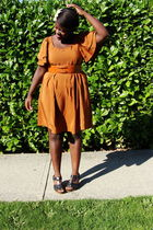 orange H&amp;M dress - black Old Navy shoes - orange thrifted belt