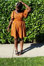 Orange-h-m-dress-orange-belt-black-old-navy-shoes-white-accessories