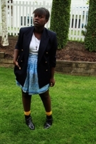 jacket - t-shirt - Wet Seal skirt - forever 21 socks - boots
