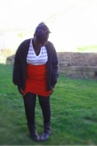 self-made scarf - American Apparel t-shirt - sweater - boots -