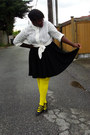 Yellow-we-love-colors-tights-ivory-shirt-black-thrifted-skirt
