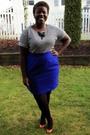 White-t-shirt-blue-skirt-black-value-village-jacket-black-american-apparel
