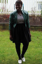 green Value Village jacket - white t-shirt - black skirt - black HUE tights - wh
