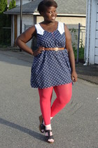 blue dress - pink Joe Fresh stockings - white socks - black Old Navy shoes