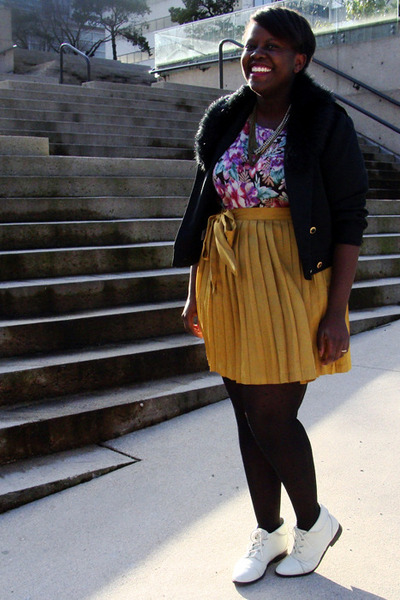 Etsy boots - thrifted jacket - thrifted shirt - Gap skirt