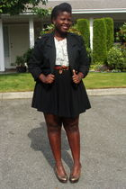 white shirt - black Old Navy skirt - black jacket - brown belt - brown seychelle