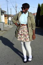 olive green mens military Bluenotes jacket - light purple thrifted skirt - sky b