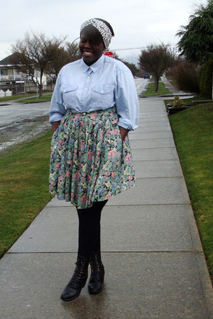 black Aldo boots - light blue thrifted denim shirt - aquamarine thrifted skirt -