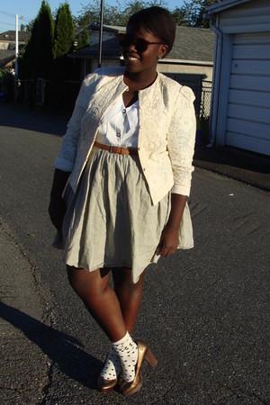 beige jacket - white blouse - beige joe fresh style skirt - white Aldo socks - g