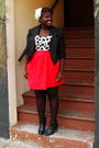 Black-jacket-white-seduction-top-red-skirt-black-bamboo-boots-white-deen