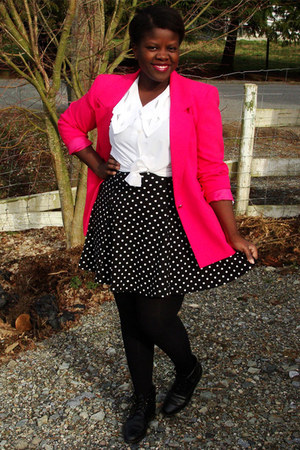 black thrifted dress - hot pink thrifted blazer - white thrifted blouse