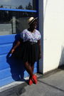 White-shirt-black-old-navy-skirt-orange-h-m-shoes