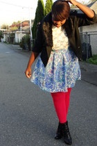 black jacket - black accessories - cream top - light purple skirt - hot pink HUE