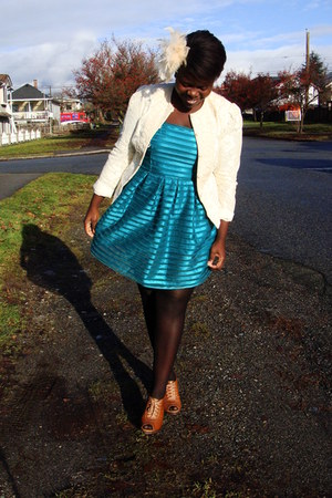 teal H&M dress - cream jacket - tawny Aldo heels - cream Front & Co accessories