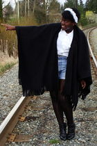 black fleece poncho la chateau coat - black Bamboo boots