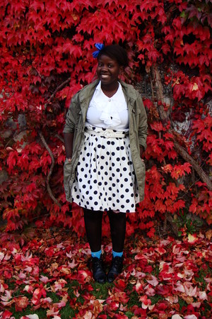 army green Bluenotes jacket - black thrifted boots - white blouse - white skirt