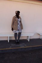 beige fletcher by lyell coat - white thrifted dress - gray Joe Fresh stockings -