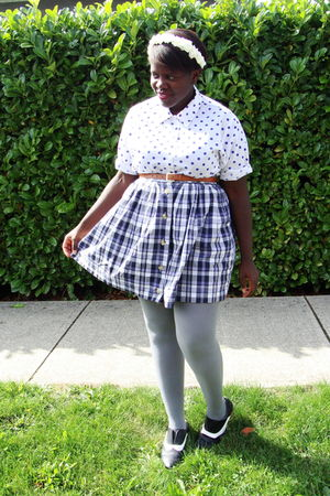 white shirt - purple skirt - gray joe fresh style stockings - black BDG shoes