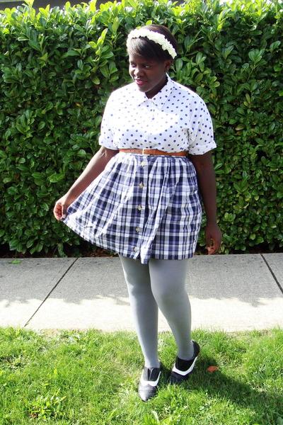 white shirt - purple skirt - gray joe fresh style stockings - black BDG shoes