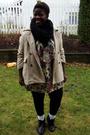 Black-h-m-scarf-beige-true-value-vintage-dress-beige-fletcher-by-lyell-coat-